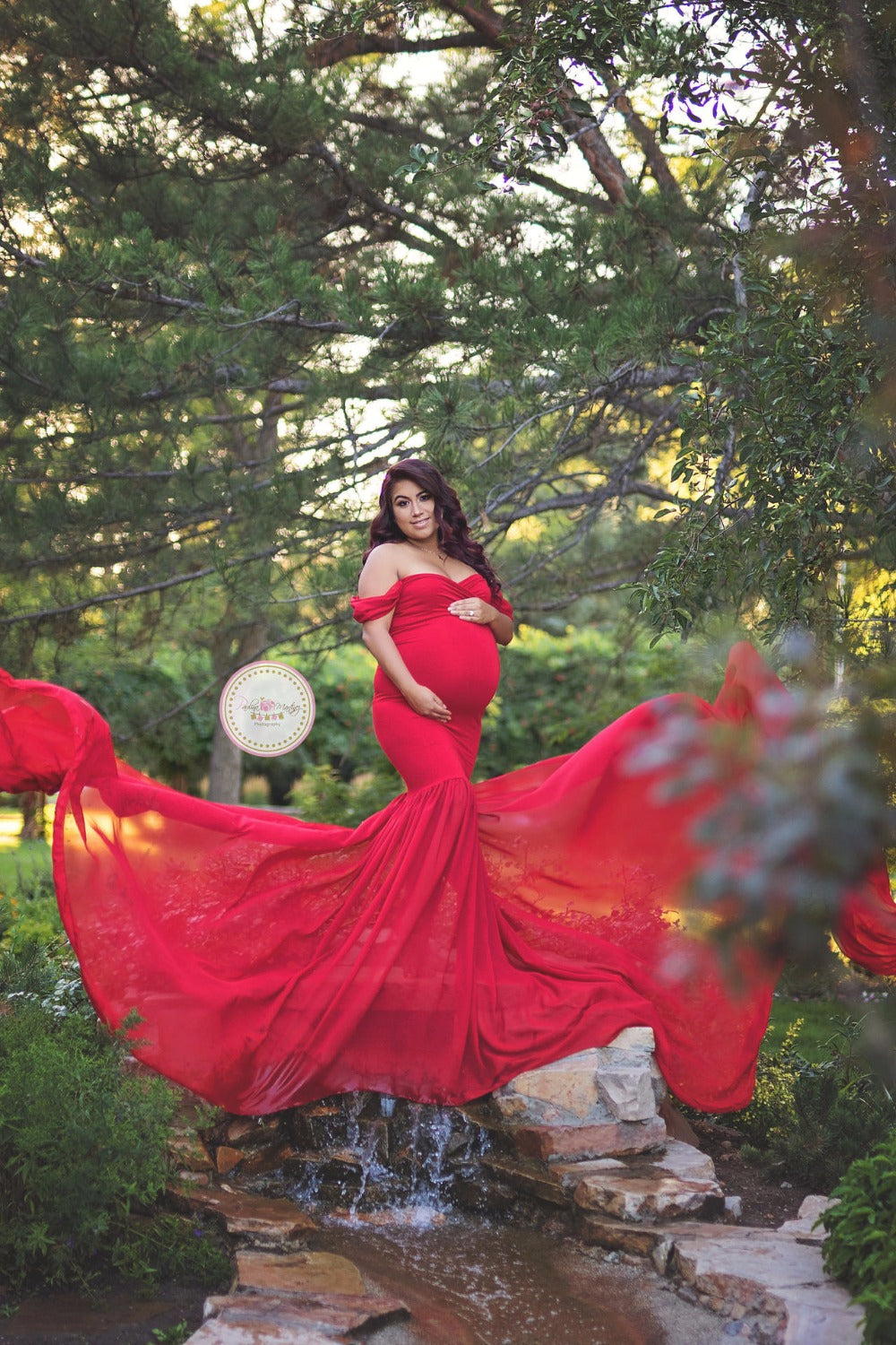Pregnancy Cloth Cotton+Chiffon Maternity Off Shoulder Half Circle Gown  pregnant dress