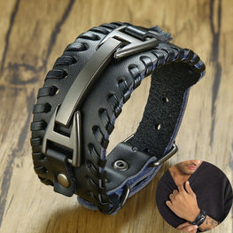 Men Stylish Wide Leather Bracelet Punk Braided Rope Alloy Cuff Bangle Male Wristband Mens Jewelry