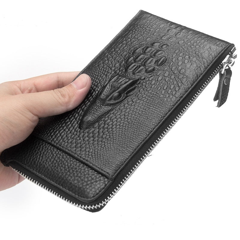 Men Wallet Genuine Leather Coin Purse Business Card Holder Zipper Long High Quality