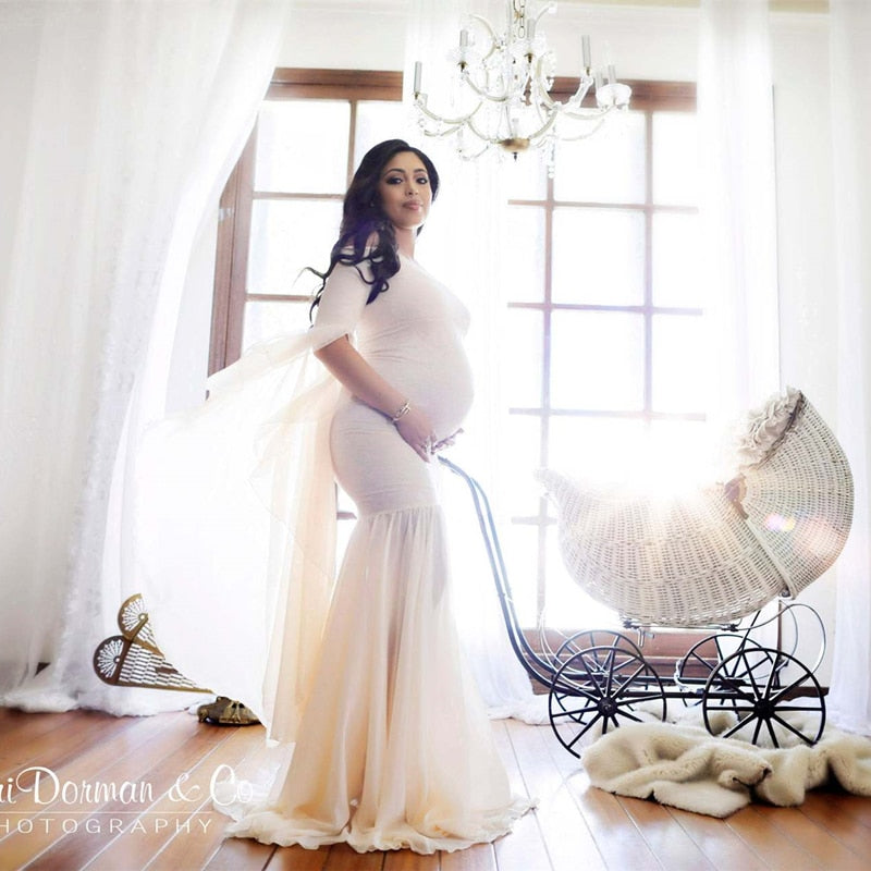 Pregnant Mom Women Lace Long Maxi Dress Maternity Gown Photography Props Clothes