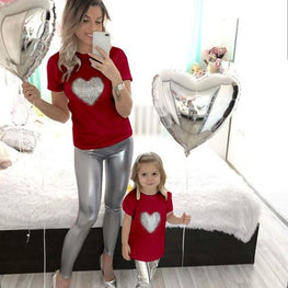 Mother And Kids Cute Heart T shirt Short Sleeves Top mom daughter