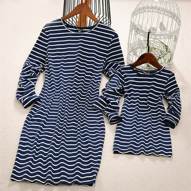 Mother Daughter Family matching Outfits mommy and me Women baby Girl Striped Plain Basic Dress Elegant