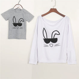 Mother and Son Matching Outfits T shirt Cute Rabbit Toddler
