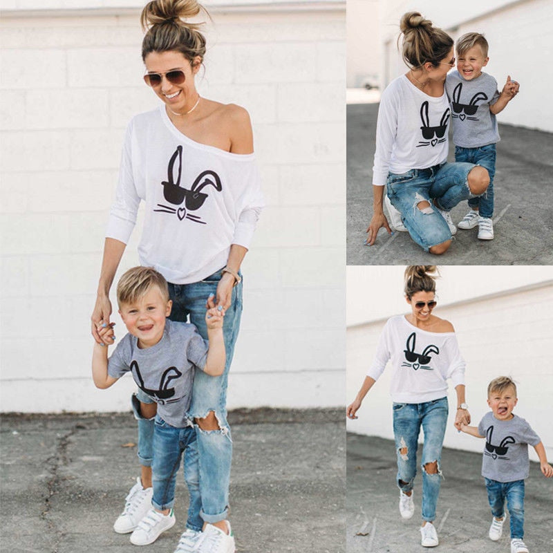 22f348b3 Mother and Son Matching Outfits T shirt Cute Rabbit Toddler – The ...