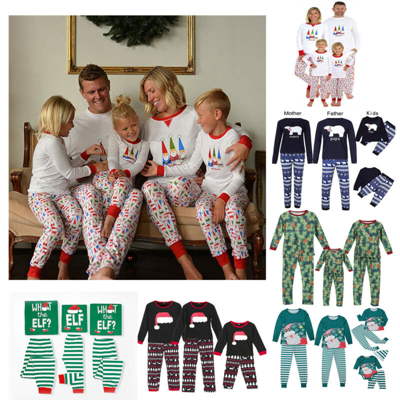 New Christmas Family Clothes Pyjamas Set PJs Fun Xmas Santa Kids Sleepwear Nightwear Long Sleeve T shirt Pants Clothes Set