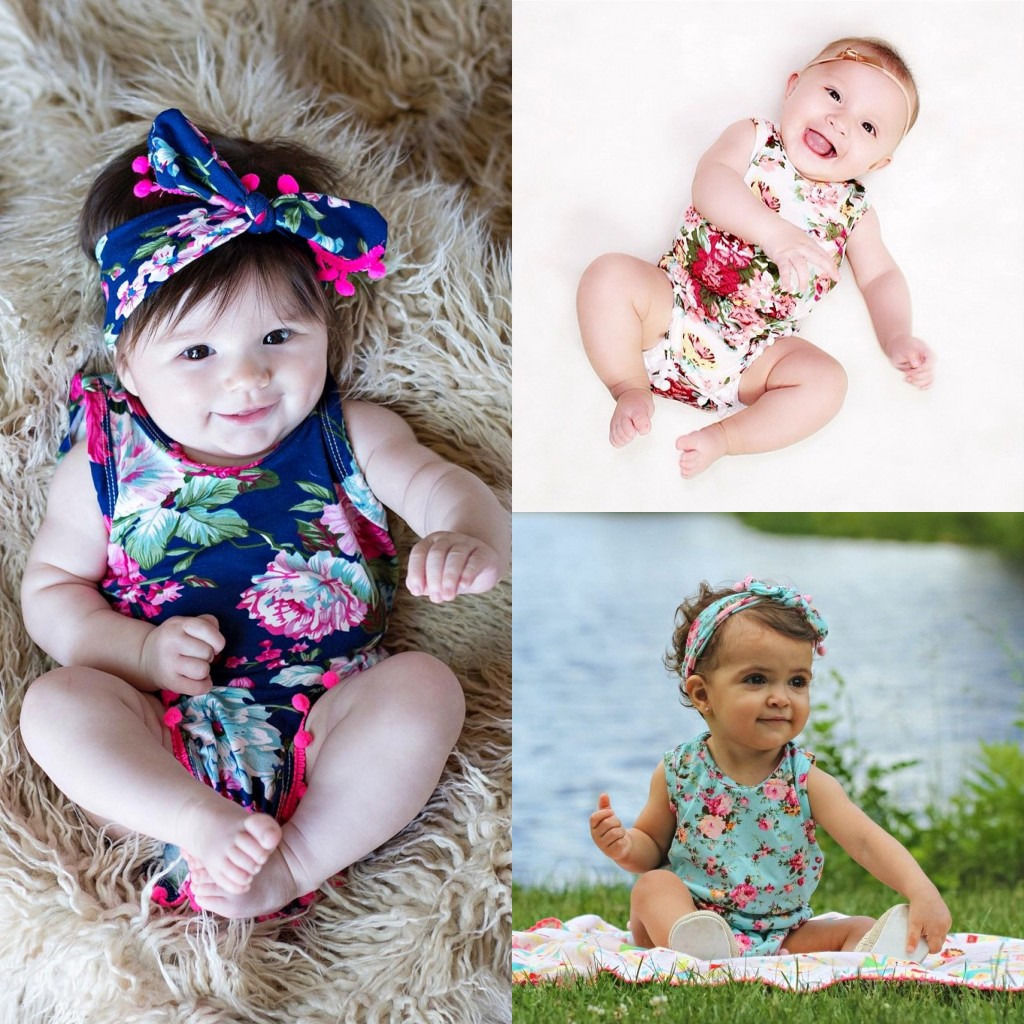 New Baby Girl Romper Summer Romper Newborn Floral