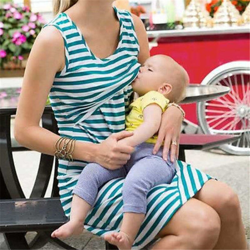 Maternity Dress Striped Long