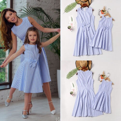New Mom Kid Girl Sleeveless Plaid Bowknot Dress Family Matching Outfits  Mother&Daughter Dress Plaid