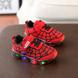 Spiderman Children Shoes With Light Led Luminous Glowing for girls and boys