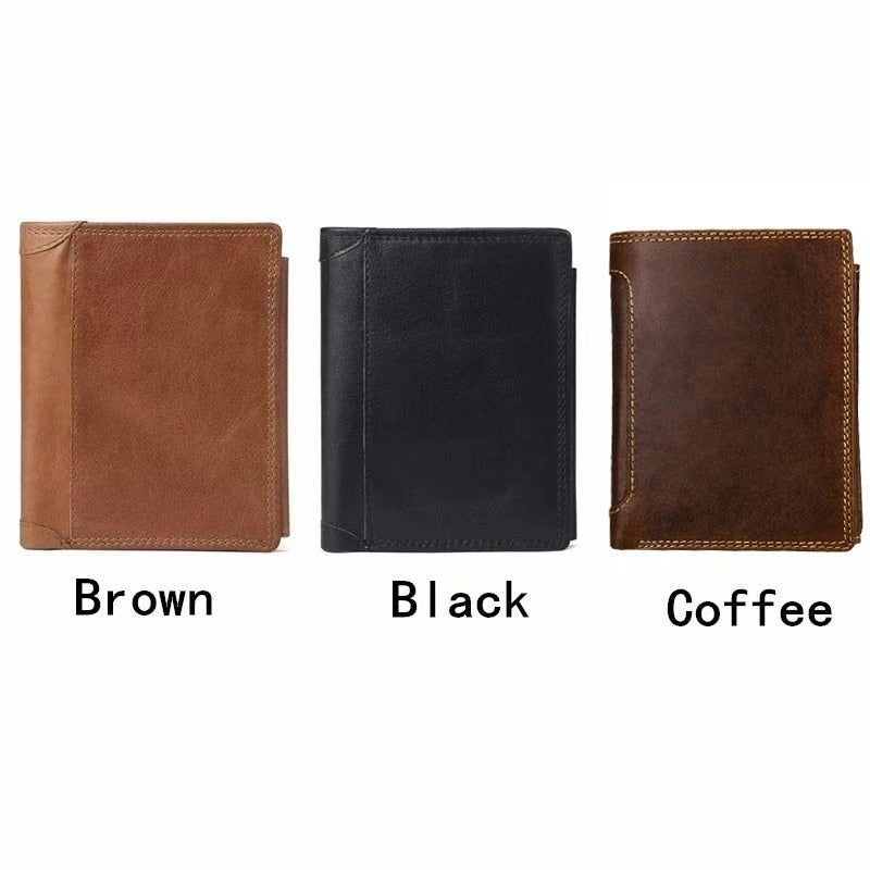 New Style Plus Size Men's Wallet RFID Blocking Genuine Leather Trifold Business