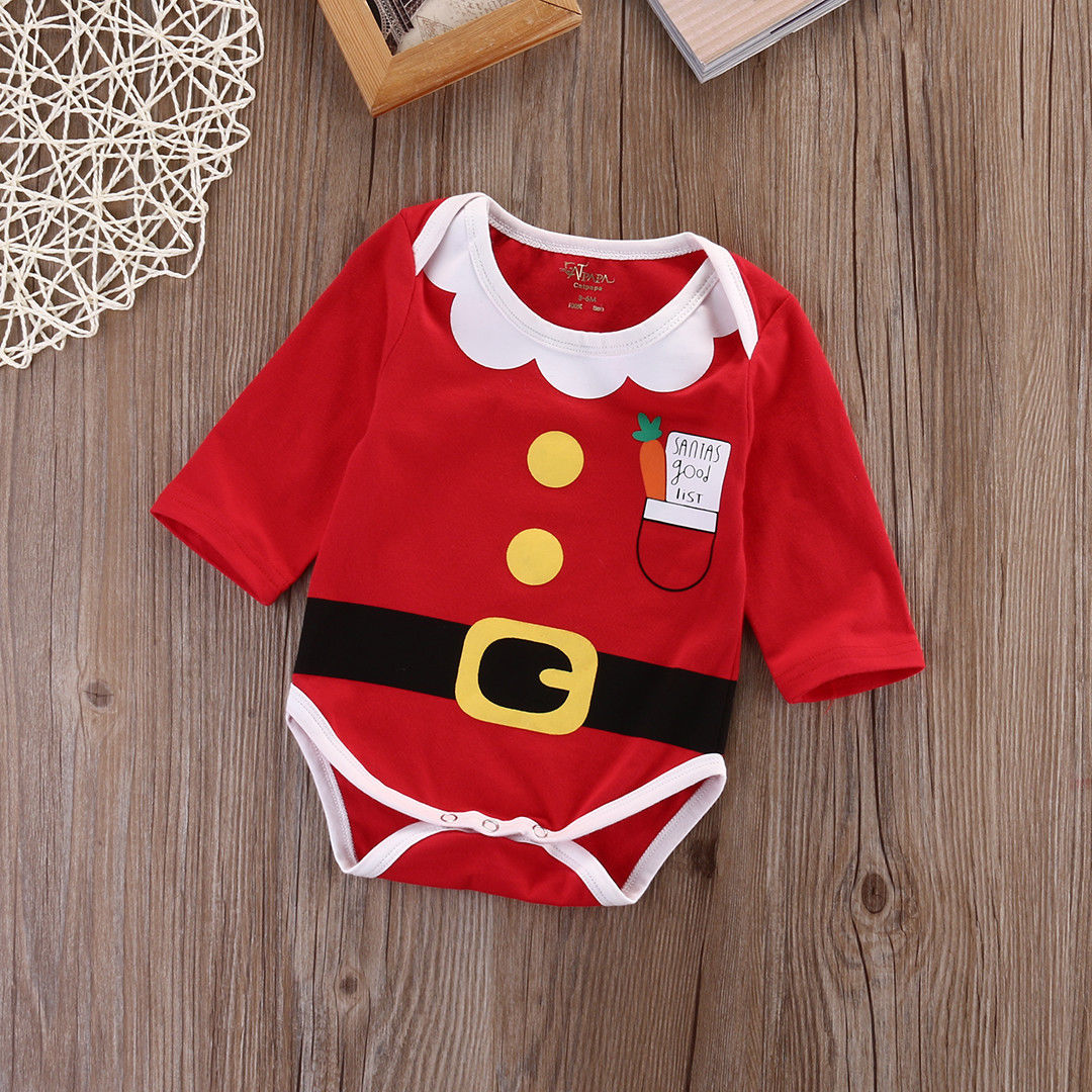 Newborn Baby Christmas Romper Red Santa Patterned