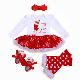 Newborn Baby Girl Clothes Brand Baby 4Pcs Clothing sets Tutu Romper 0 2T Baby Christmas Outfits