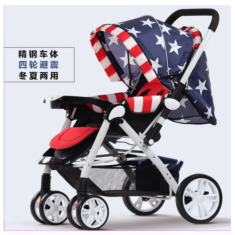 Stroller 3 In 1 High Landscape Folding Car Seat Travel Convertible