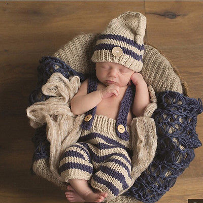 Newborn Baby Photography Prop Outfits Knit Baby Pants /& Hat 0-3 Month Fotografia