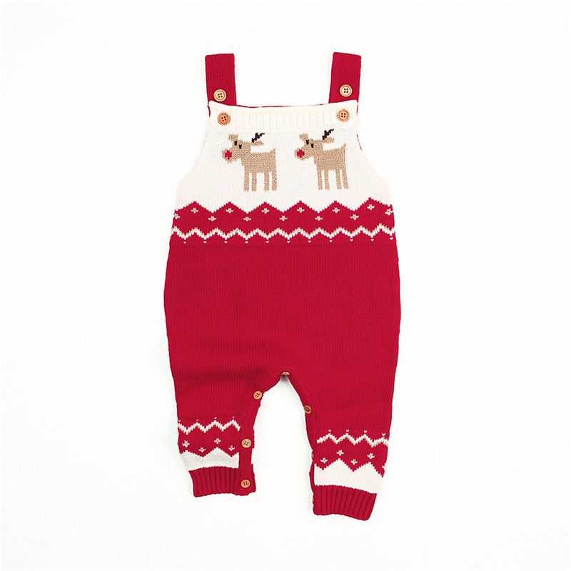 Unisex Baby Boys Girl Xmas Deer Clothes Knitted Long Sleeve Casual Romper Jumpsuit Outfit Christmas
