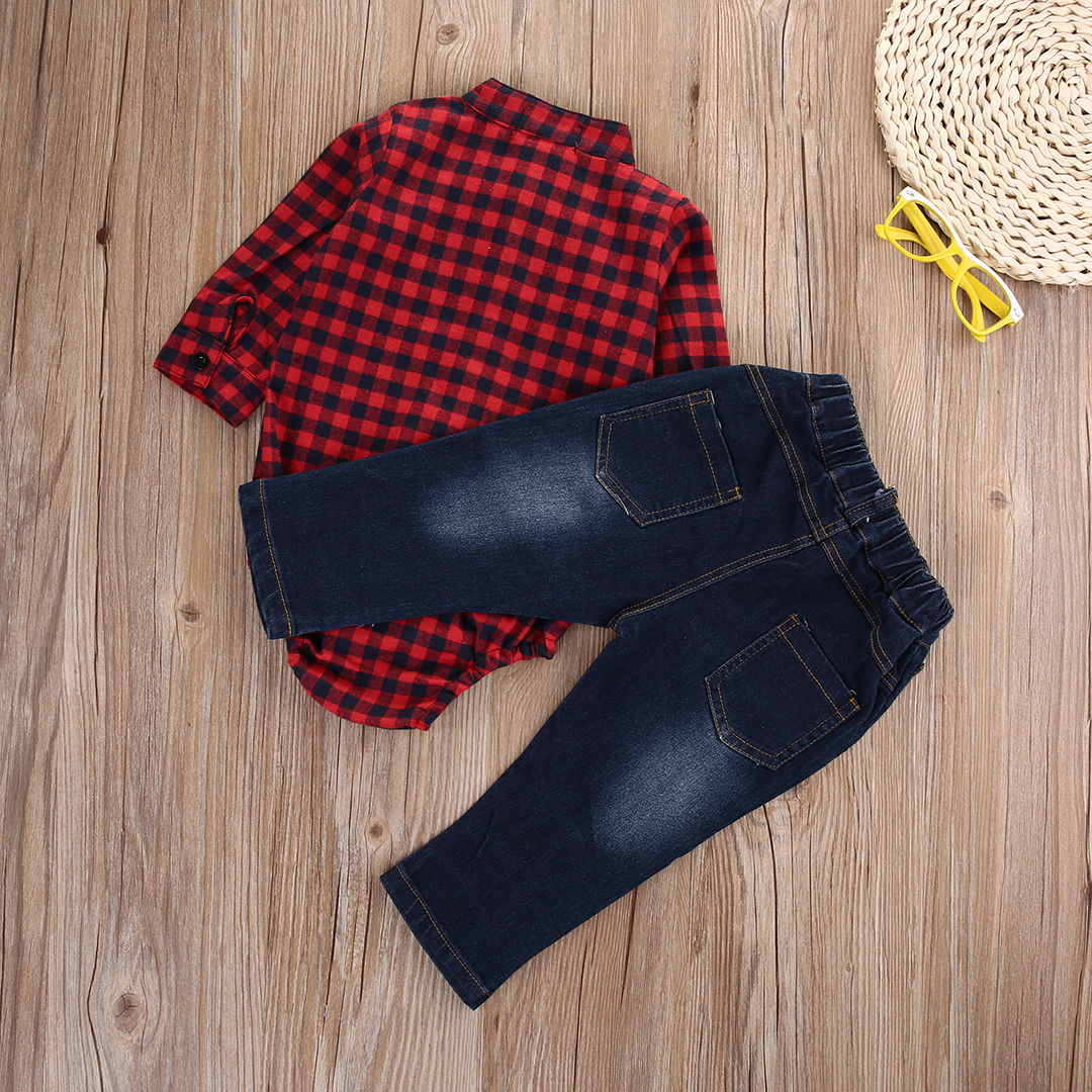 Newborn Kids Baby Boy Long Sleeve Cotton Plaid Romper Tops+Jeans Denim Long Pants 2PCS Gentleman Outfits Set