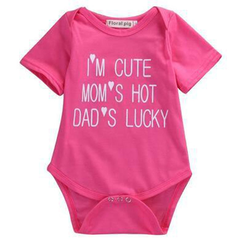 Infant Baby Boy Girls I'M CUTE MOM'S HOT DAD'S LUCKY Jumpsuit