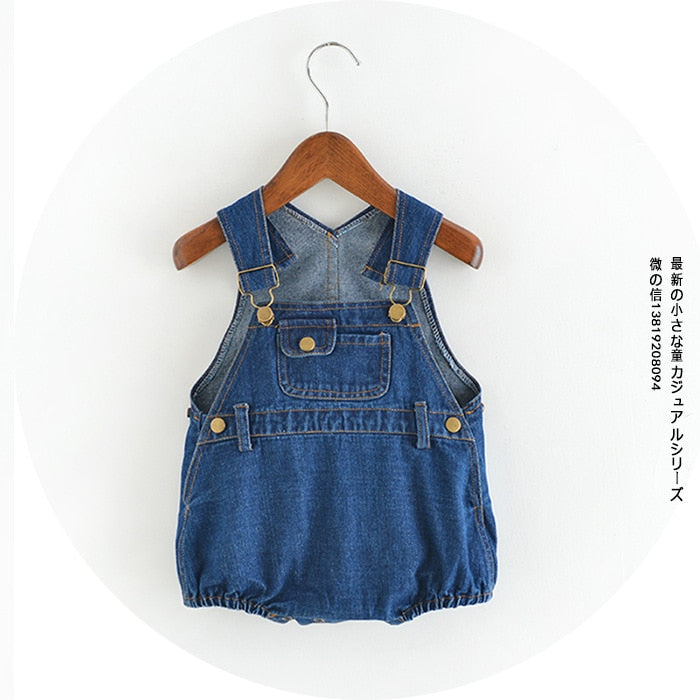 One piece infant baby romper boys  girls overalls denim