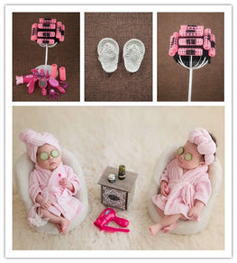 Perm rods cap+electric hair drier+comb+mirror+lipstick+slipper set  tea table newborn