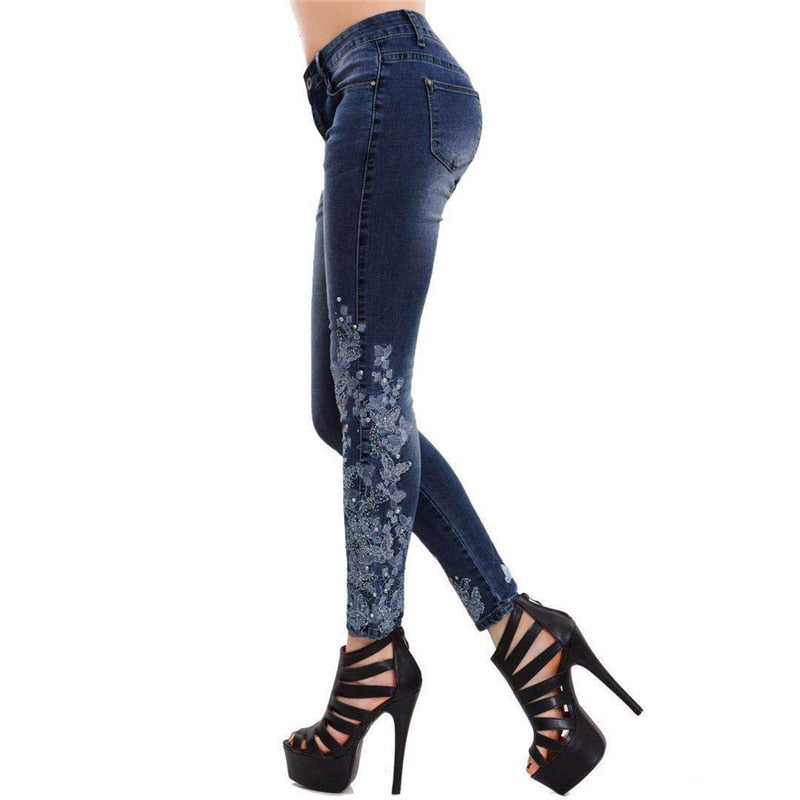 Plus Size 5XL Women Stretch High Waist Skinny Embroidery Jeans Ripped Woman Floral Denim Pants Trousers Women Pencil Pants
