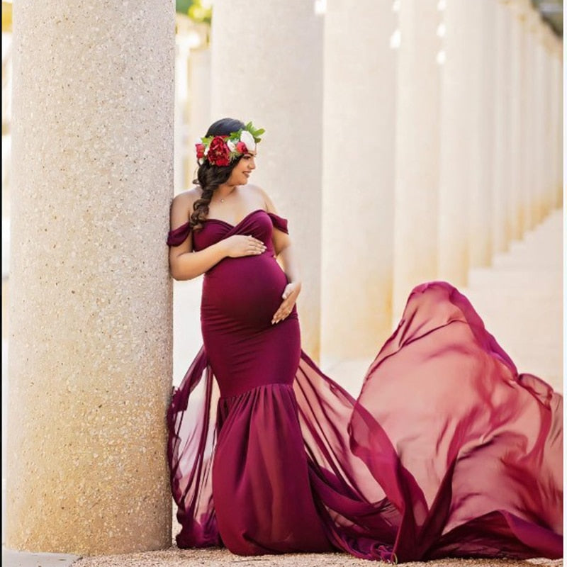 New Maternity Photography Props For Shooting Photo Pregnancy Clothes Cotton+Chiffon Off Shoulder Half Circle Gown