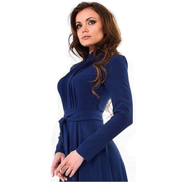 Pregnant Long Dresses with Sashes Women Casual Long Sleeve
