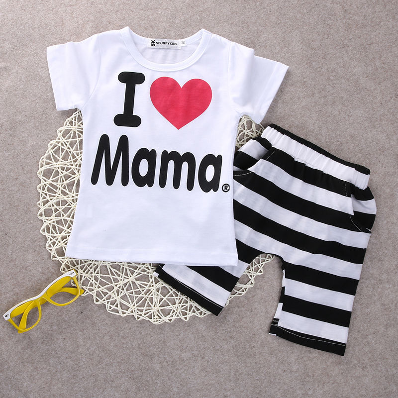 2PCS Toddler Baby Girl Boy T shirt Tee+Striped Pants Shorts Outfits Kids Clothes