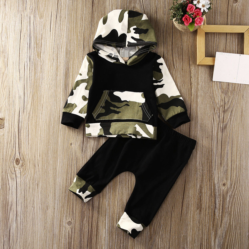 Baby Kids Boy Hooded Tops Pants 2Pcs Outfits Set Clothes