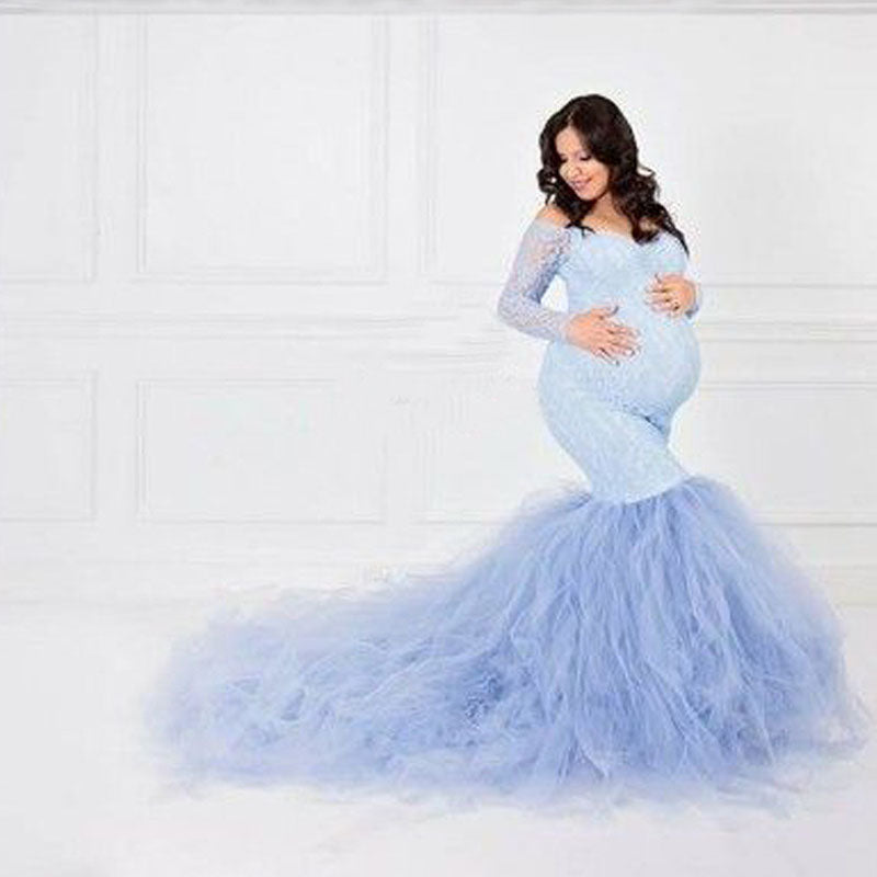 Sexy Lace Shoulderless Pregnancy Dress Long Sleeve Mesh Maternity Maxi Gowns For  Pregnant Women and photot shoot