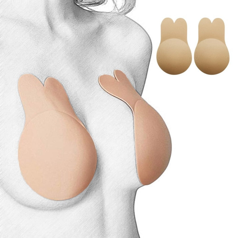 Strapless Rabbit Bras for Women Sexy Silicone Bra Push Up Nipple Covers Invisible Bra