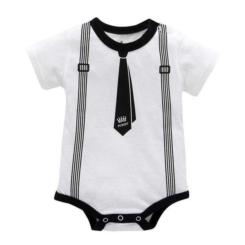 Infant Baby Boys Girls Print Short Sleeve Jumpsuit