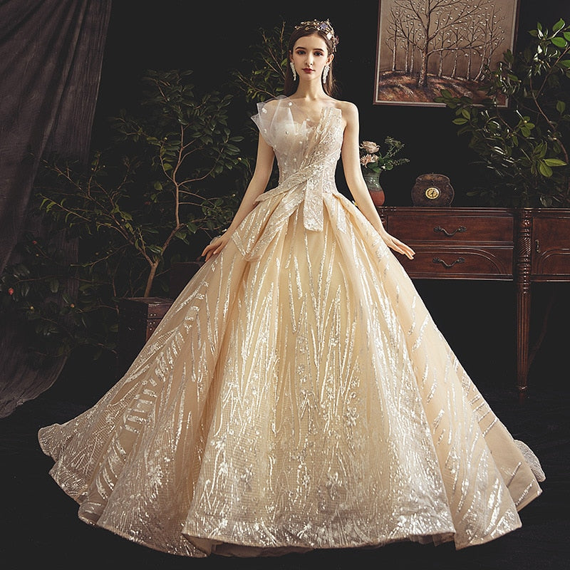 Romantic Champagne Strapless Flower Long Lace Wedding Dress, Maternity Dress Fashion Elegent Small Tail Pregnancy Dress
