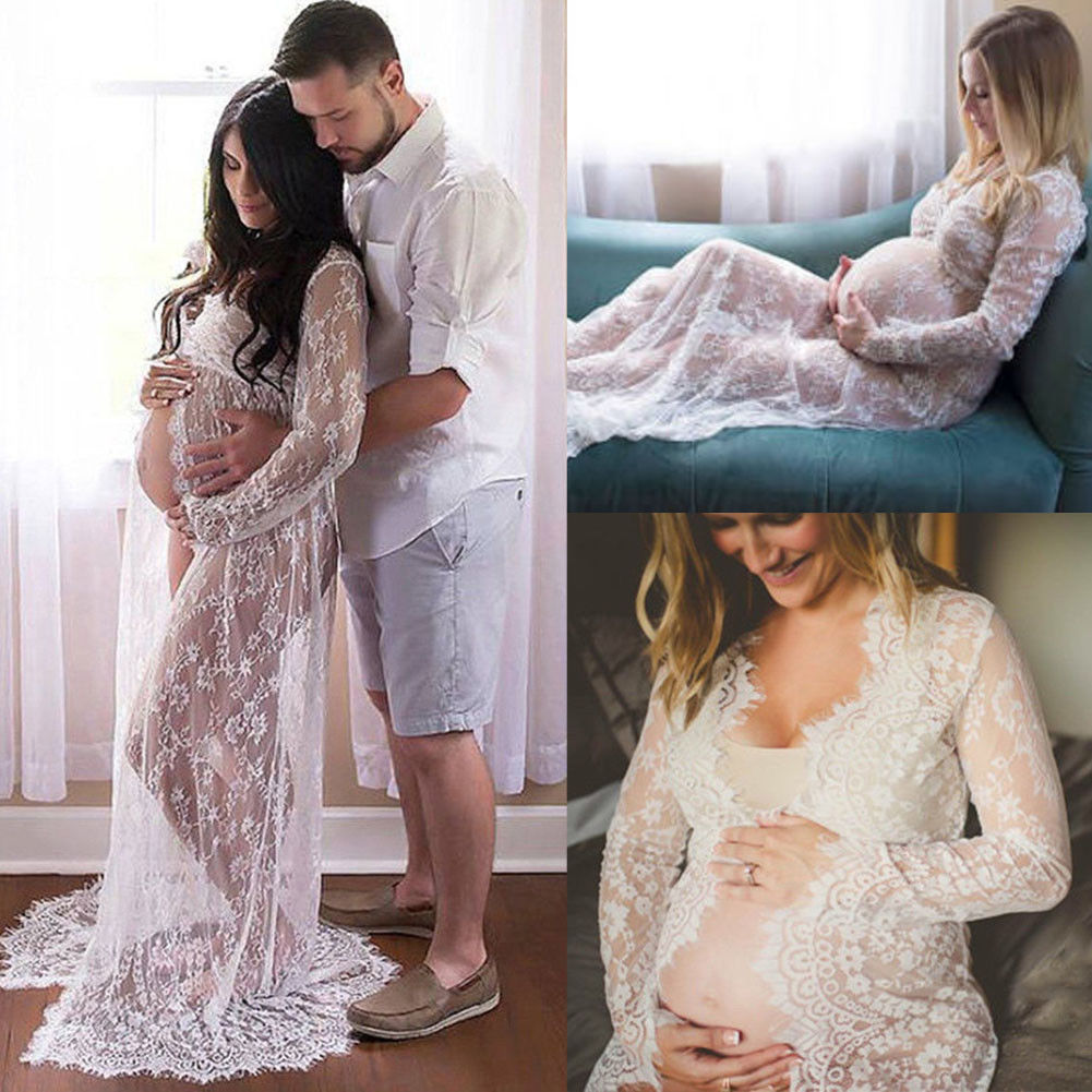 Pregnant Lace Dress Women Front Split Long Maxi Maternity Black&White