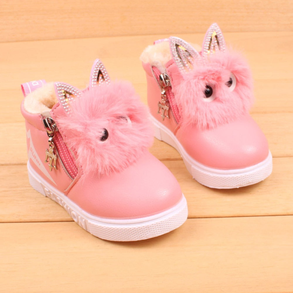 TELOTUNY cute boots girls leather PU snow boots kids shoes  botte fille  u71212