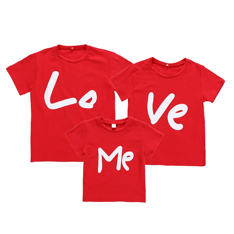 Family Look T shirt Love Printed Family Matching Clothes Red