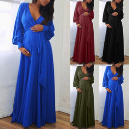 Pregnant Maternity V Neck Long Sleeve Solid Ruffles Frenulum Dress