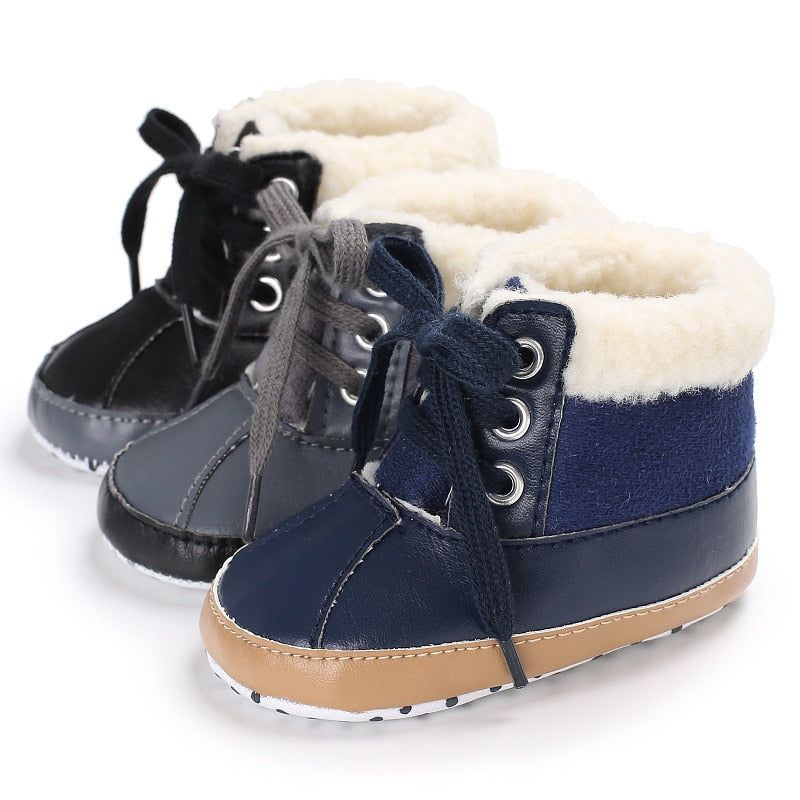 Winter 0 1 years old male baby plus velvet warm snow boots soft bottom