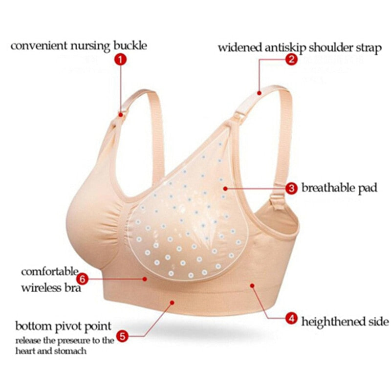 Women Hands Free Maternity Breast Pump Bras Hot Solid Cotton