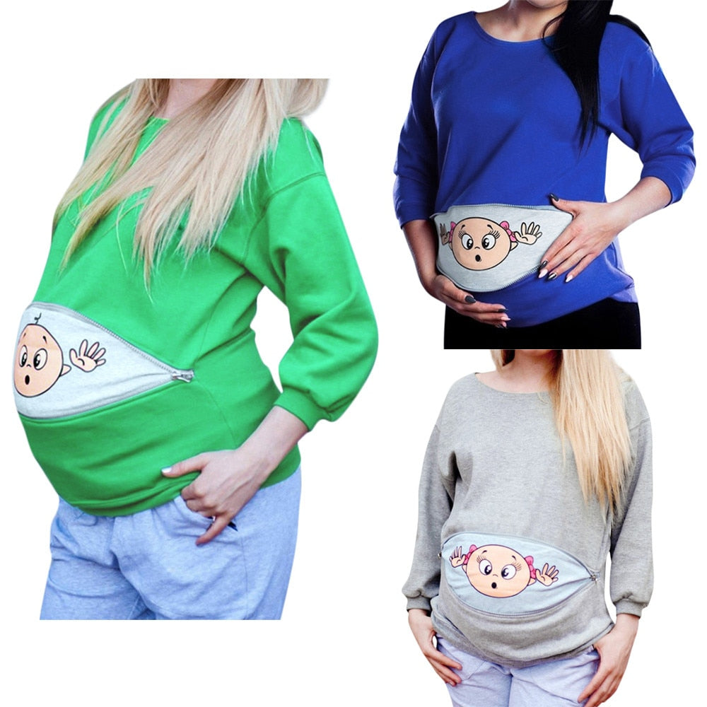 Women Maternity Baby Peeking Sweatshirt Funny Zip Pregnancy Mother Pullover Tops