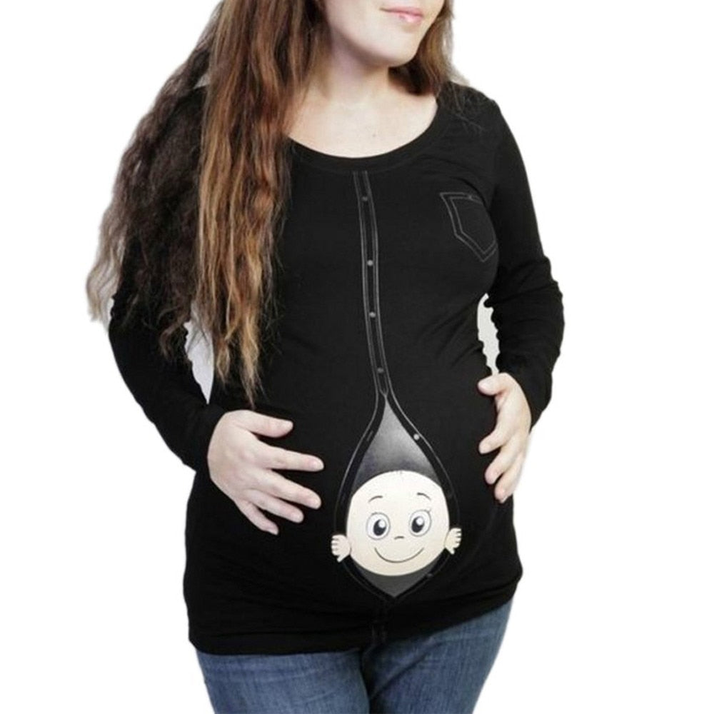 Maternity Baby Peeking T Shirt Funny Pregnancy Tee Expecting Mothers Tops