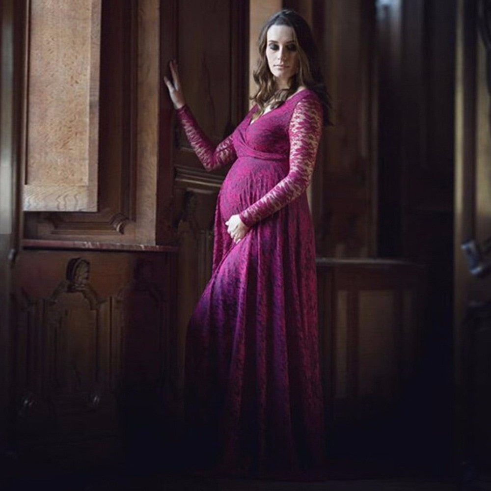 Women V Collar Long Dress Maternity Photography Props Lace Pregnancy Clothes Elegant Maternity Dresses