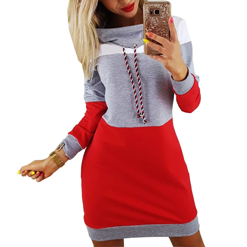 Women Winter Turtleneck Long Sleeve Hooded Dress Sweatshirt Dress
