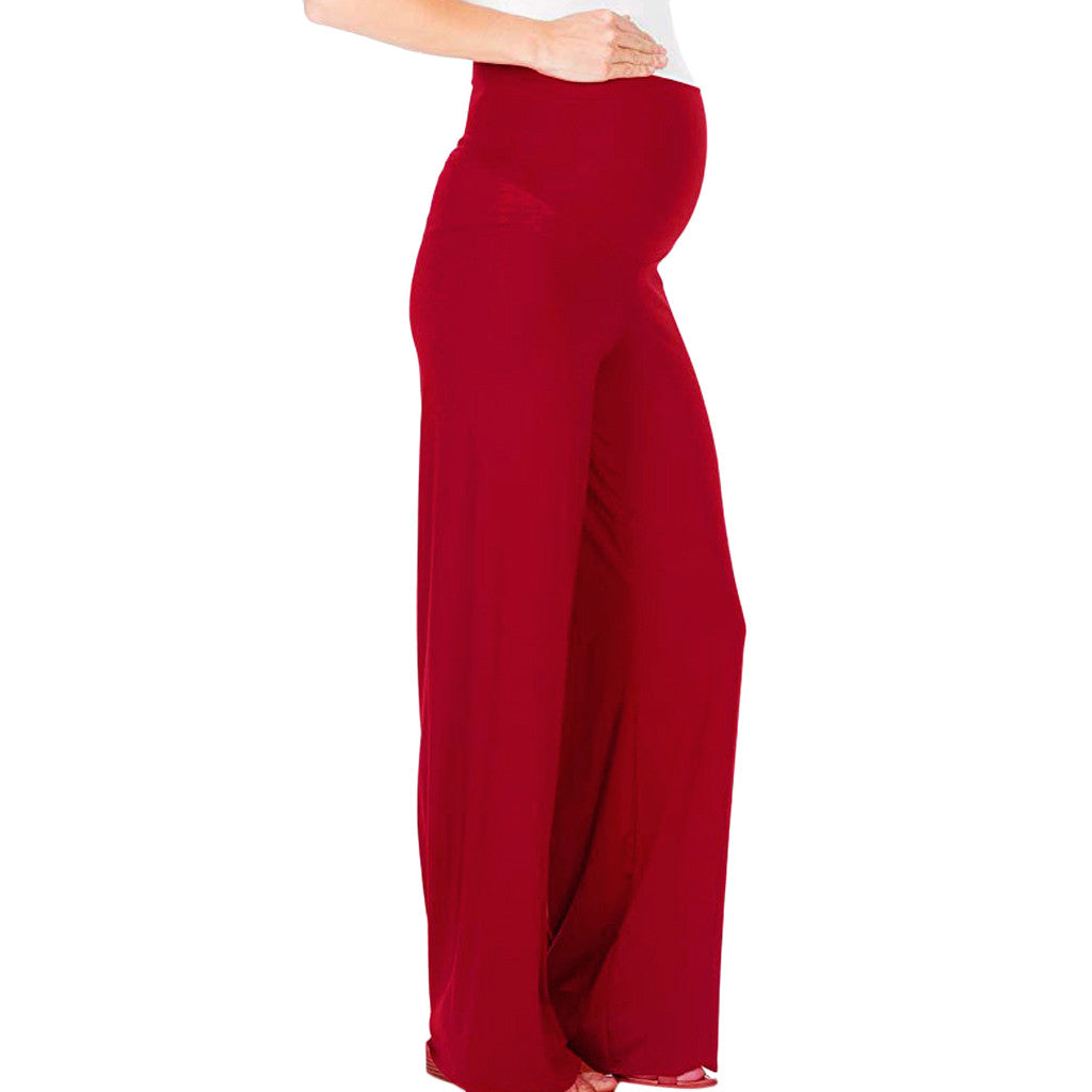 Women's Maternity Pants Solid Trousers Loose Wide Leg Pants Pregnancy Comfort High Waisted Tummy S-XXL