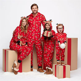 Xmas Family Kids Adult Matching Pajamas Pjs Set Hooded Reindeer Jumpsuit