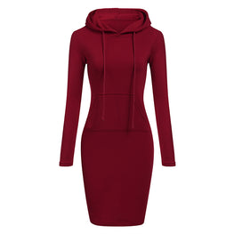 Autumn Winter Warm Sweatshirt Long-sleeved Dress  Hooded Collar Pocket Design Simple Woman Dress