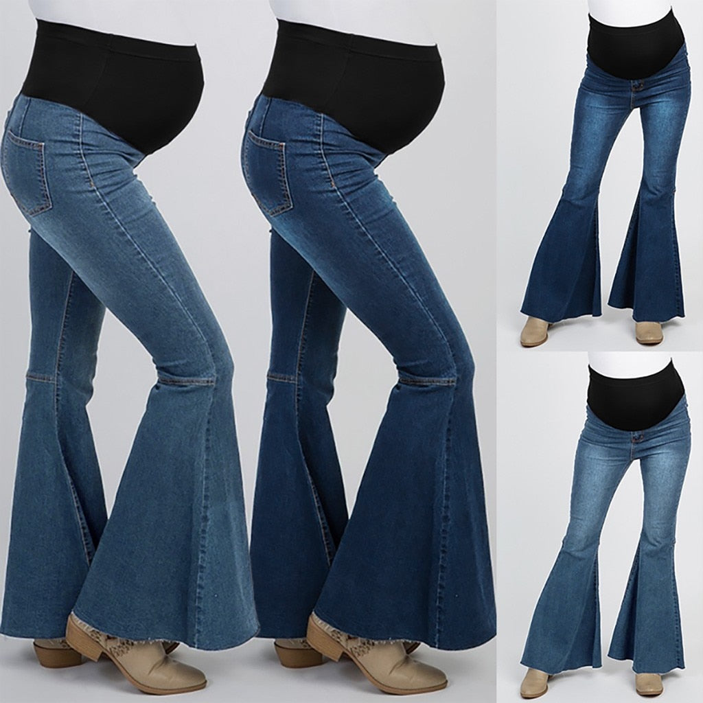 Elastic waist maternity jeans pants for pregnancy S-XXL