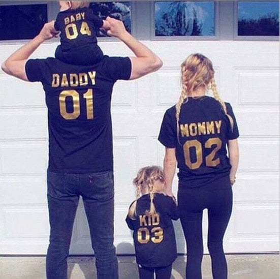 family matching clothes black gold T shirt short sleeve  mother father daughter son
