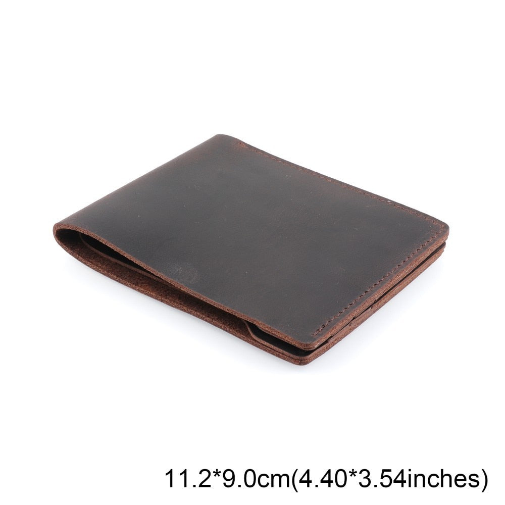 100% Genuine Leather Wallets Bifold Purse Vintage Crazy Horse Leather