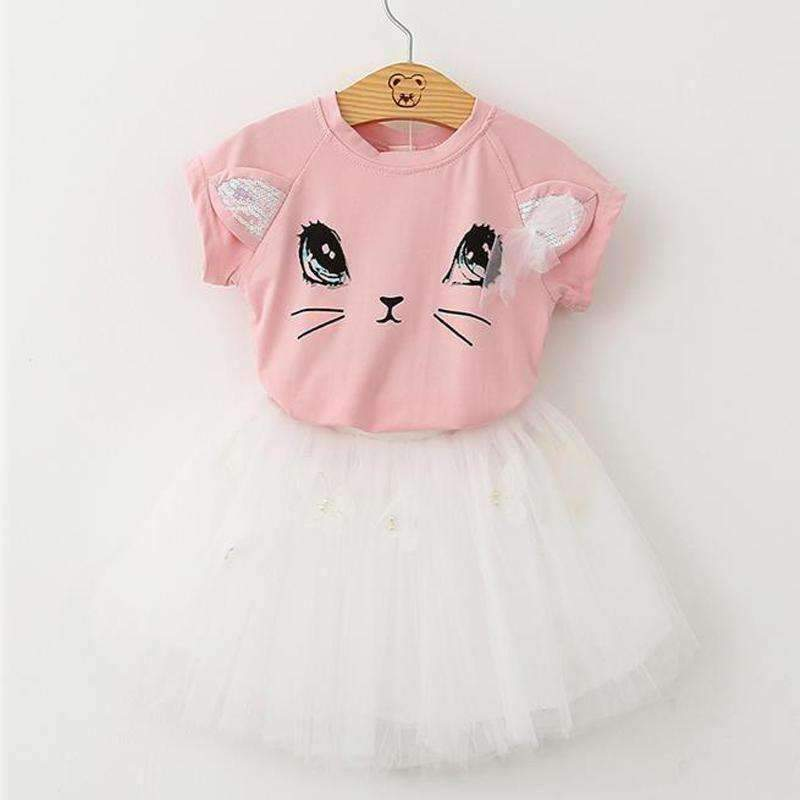 Baby Girl Cat Set - T-Shirt and Skirt - TheMomsZone