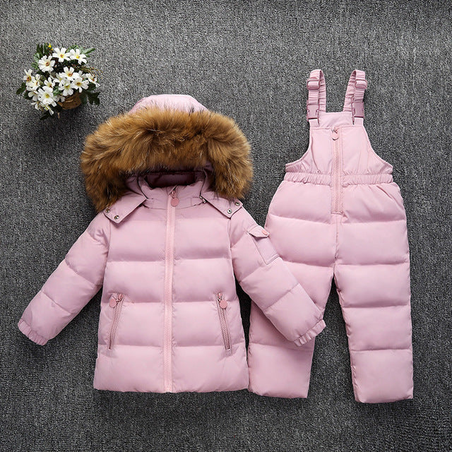 New Winter Down Jacket for Girl Boys Pants Suits parka real Raccoon fur kids Sets
